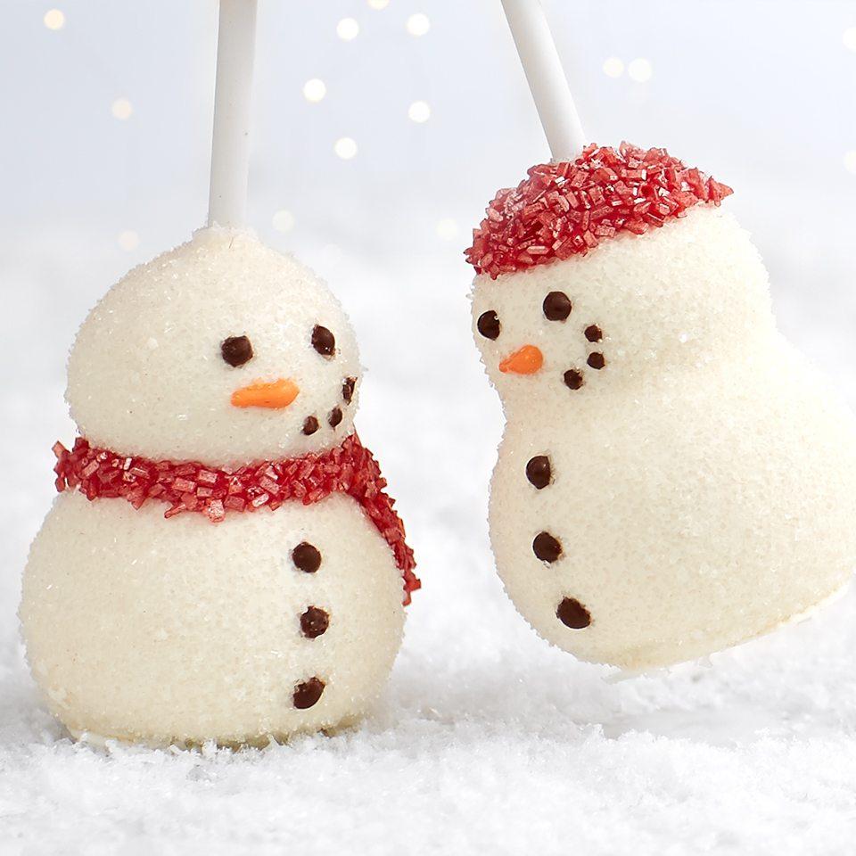 snowman brownie pops