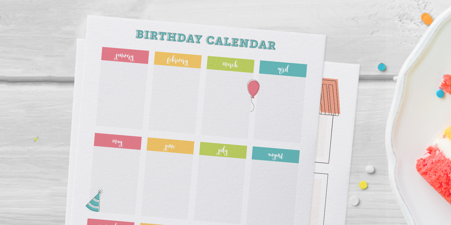 one page birthday calendar