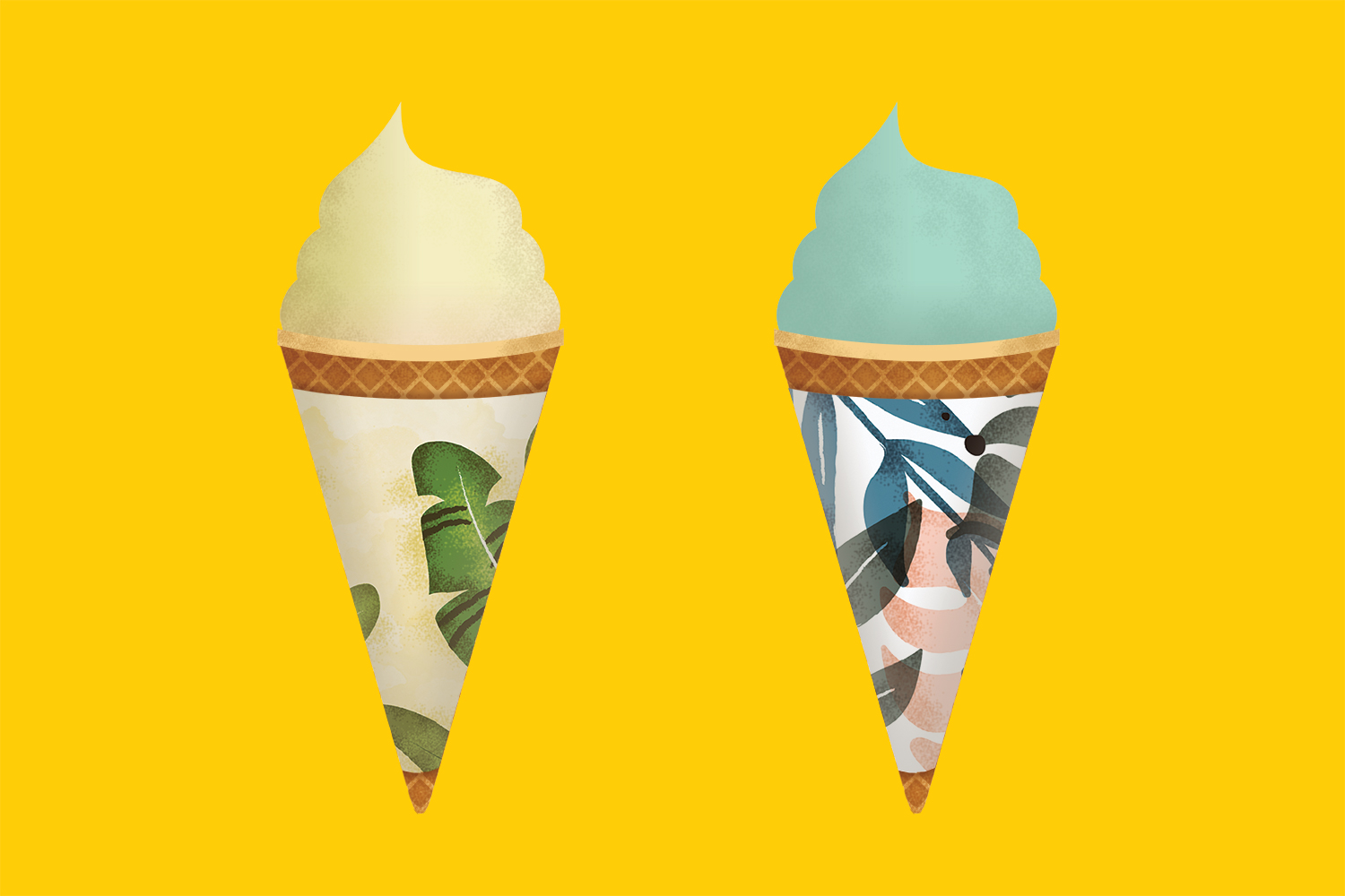 tropical ice cream cone wrappers