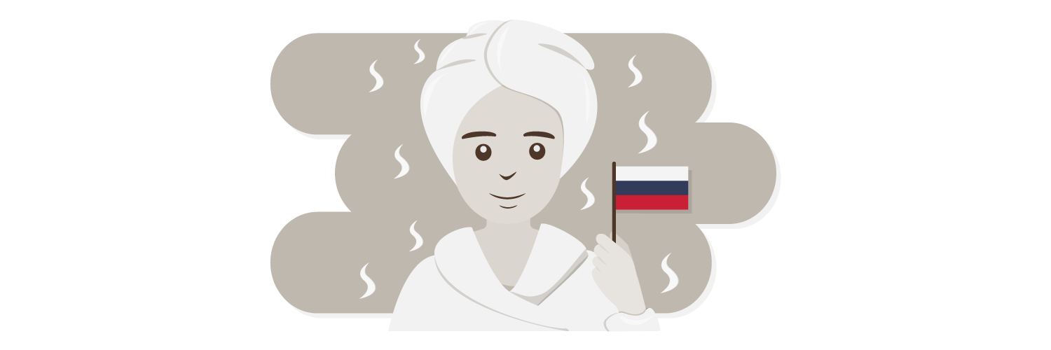 woman in sauna holding a flag