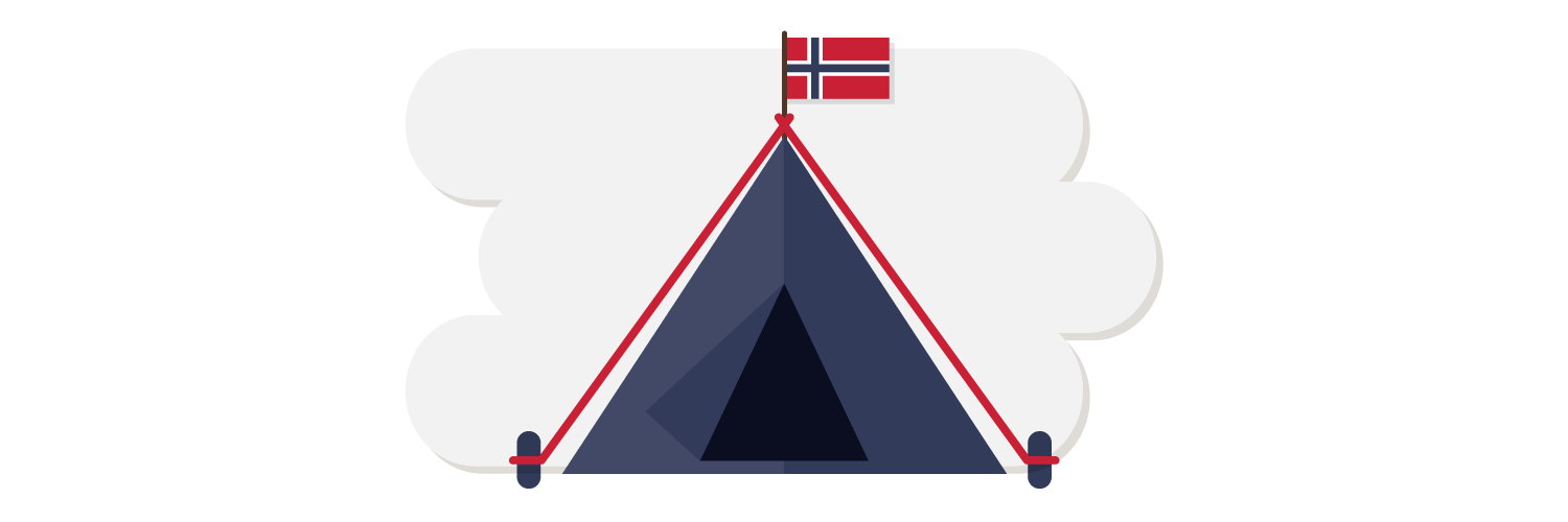 tent with a Norway flag