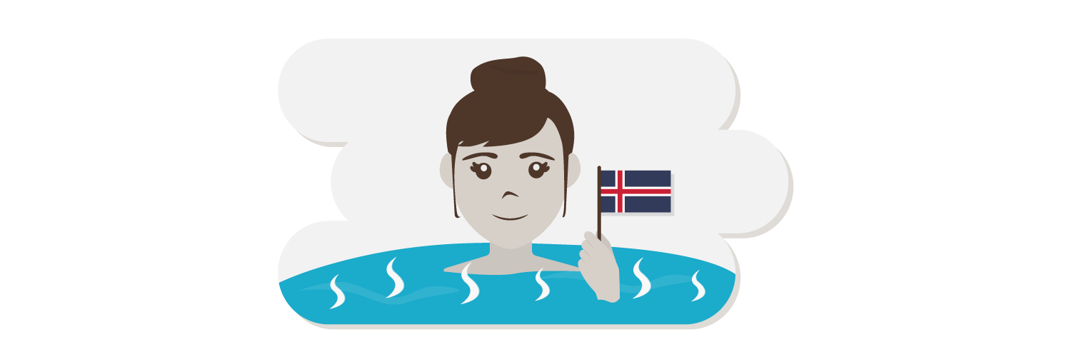 Woman in hot springs with Iceland flag