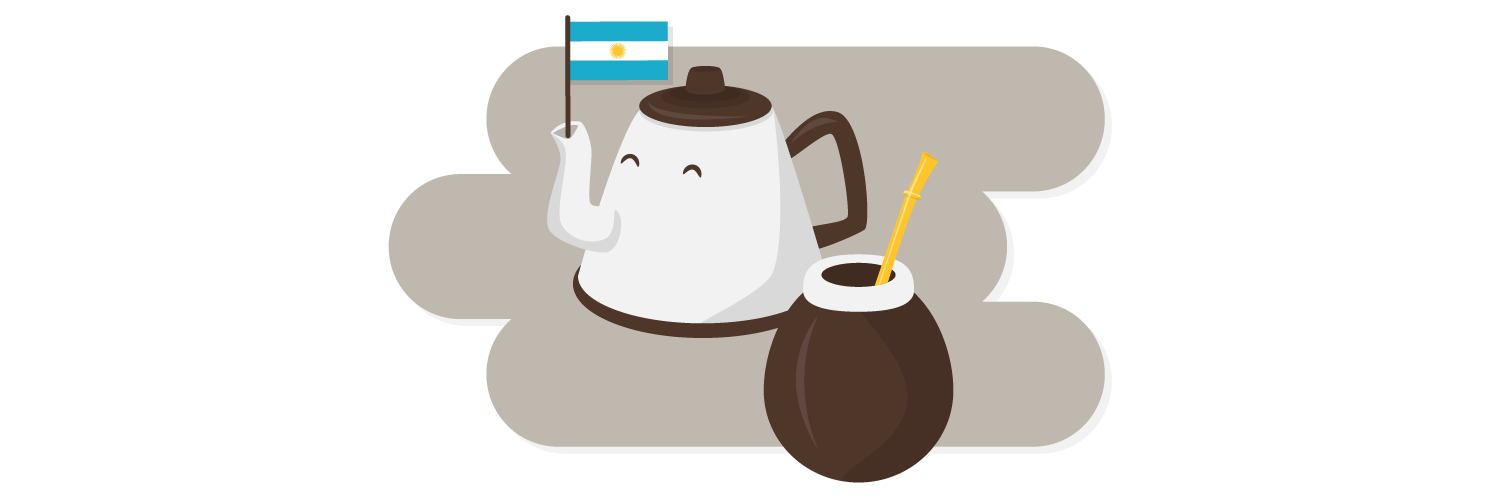 tea pot with Argentina flag