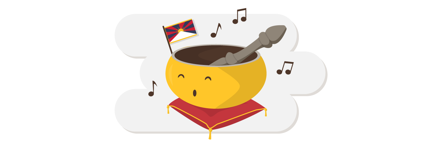 Tibet singing bowl with flag