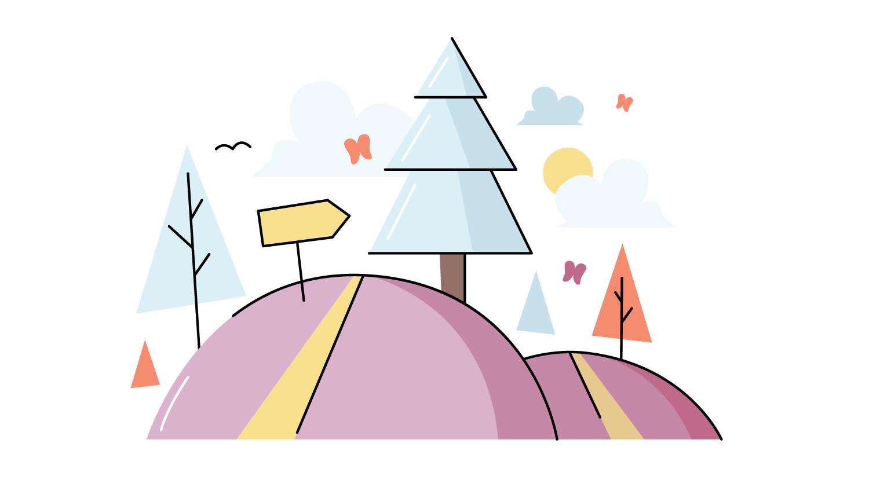 cartoon trees on hill