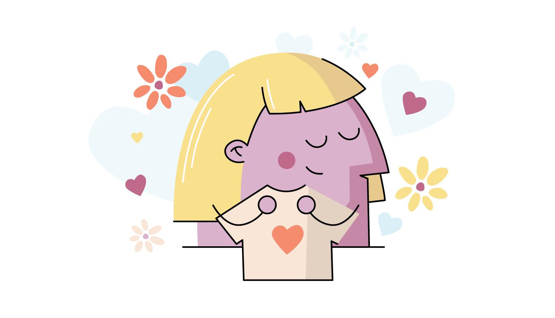 cartoon girl hugging shirt