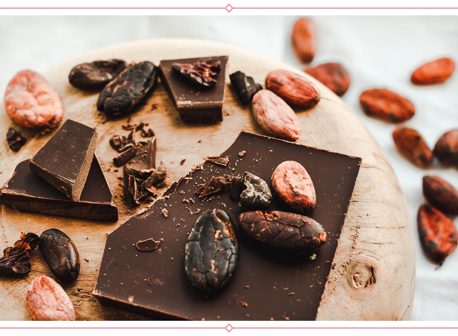 dark chocolate pieces and cocoa beans