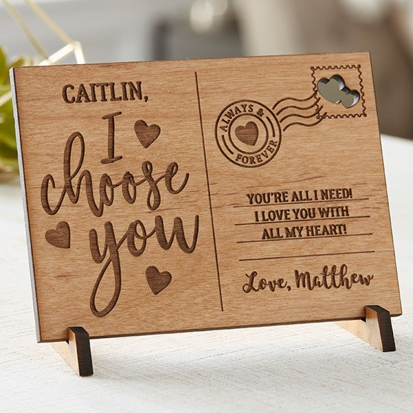 i choose you wooden postcard