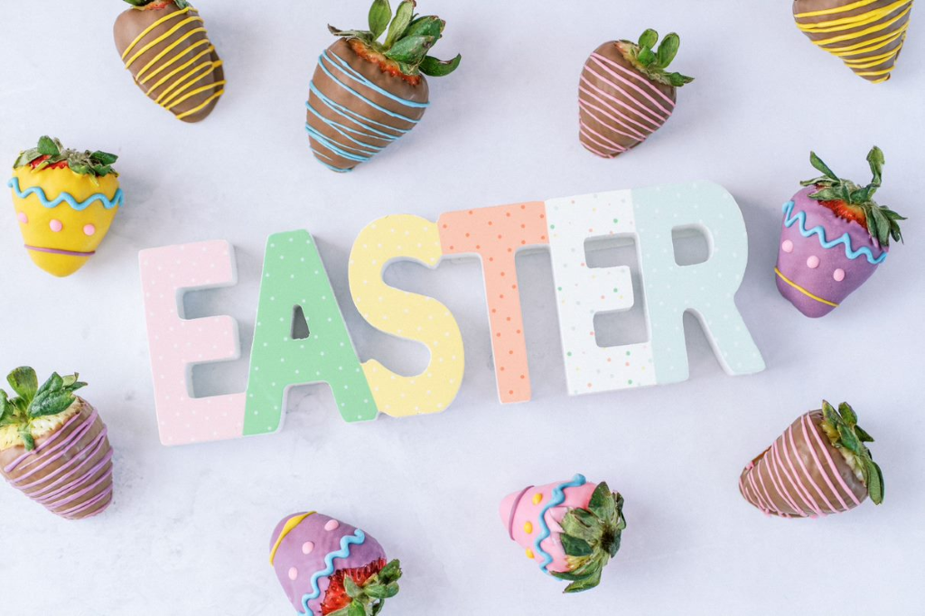 easter egg berries with easter sign